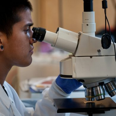 GENERIC CAPTION: Ervin eyes one of his successful creations under a microscope.
